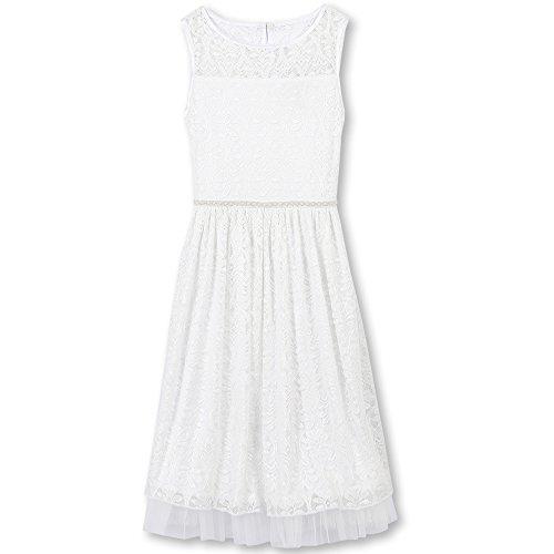 Speechless Girls' Big Favorite Dress with Illusion Neckline, White, 8 -