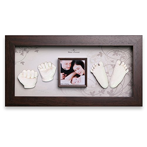 Momspresent Baby Hands and Feet Casting 3D Print DIY Kit with Walnut Frame6 (White)
