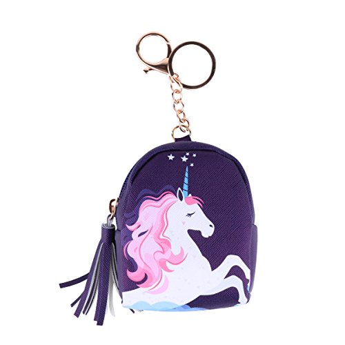 Dollar Key - Cute Unicorn Mini Sequin Wallet Coin Purse Pouch Earphone Storage Case with Key Chain Glitter Bag Accessory (Purple Cloud)