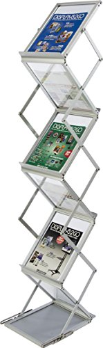 - Portable Literature Stand, Double Sided Floor Display, 5 Pockets For A4 and 8.5x11 Documents, 58