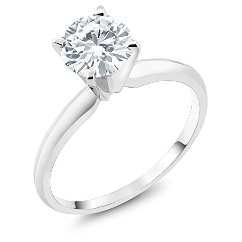Charles & Colvard Forever One GHI 1Ct DEW Round Created Moissanite 14K White Gold Engagement Solitaire Ring (Available in size 5, 6, 7, 8, 9)