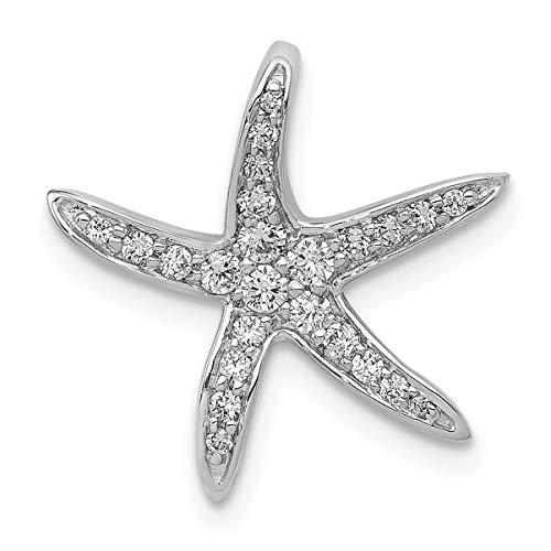 Lex & Lu 14k White Gold Diamond Starfish Chain Slide Pendant-Prime