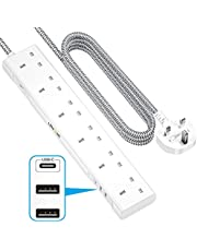 LENCENT Extension Lead with USB C Port, 3250W 13A, 6 Way Outlets Power Strip with 1 USB-C and 2 USB Slots, Multi Power Plug Extension with 1.8M Braided Extension Cord for Home Office, White