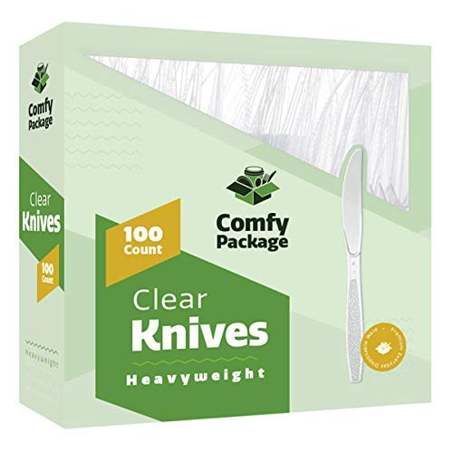 Count Medium Weight Plastic Cutlery - [100 Pack] Heavyweight Disposable Clear Plastic Knives
