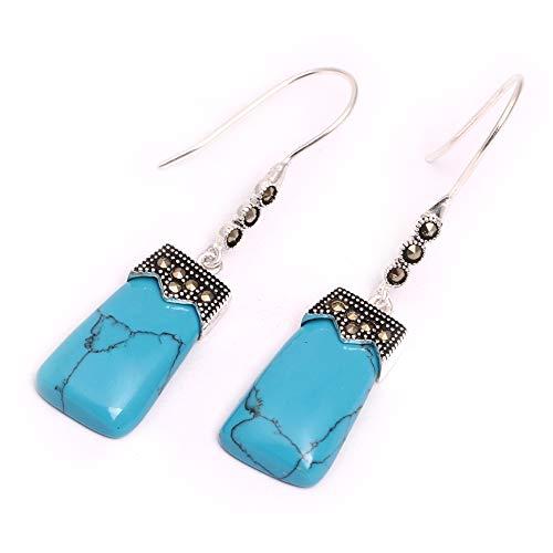 GEM-inside Earrings Blue Turquoise Gemstone Beads Rectangle Dyed Tibetan Silver Dangle Stud Hoop Fashion Jewelry for Woman 11x22mm