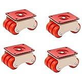 Lepose 6-Wheels Roller Moving Castor (Orange, 50 mm) -4 Pieces in 1 Box