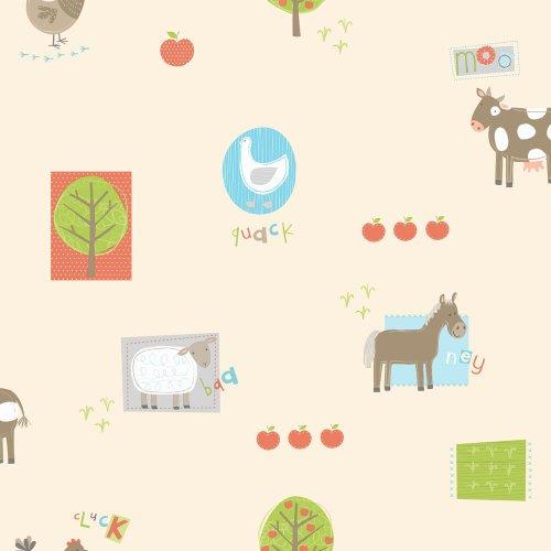 Price comparison product image Decorline Hoopla Farm Animal Bird Apple Tree Children Bedroom 10M Wallpaper Roll Decor Art