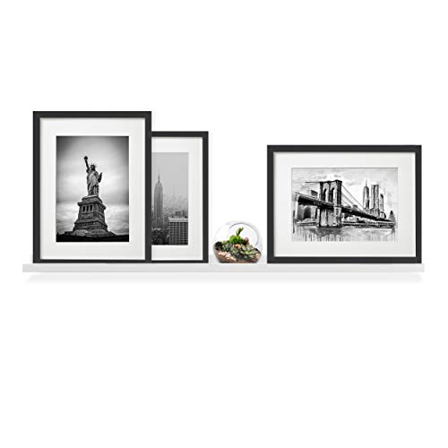 Wallniture Denver Wall Mounted Floating Shelf, Long Picture Ledge and Bookshelf for Chic Home Decor, 46 Inches, White