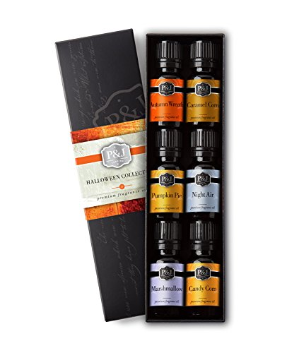 - Halloween Set of 6 Premium Grade Fragrance Oils - Autumn Wreath, Pumpkin Pie, Candy Corn, Marshmallow, Night Air, Caramel Corn