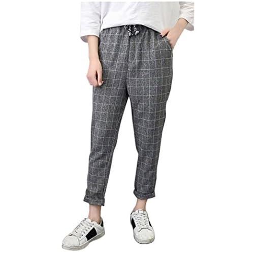 Women's Casual Pants Fashion Linen Striped Harem Pants Trousers 3