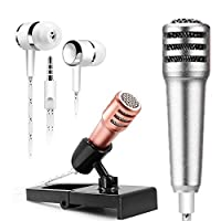 KAMII Mini Portable Vocal/Instrument Microphone with Earphone for Voice Recording/Chatting on Mobile Phone Apple iPhone Sumsung Android laptop Tablets Computers (Silver)