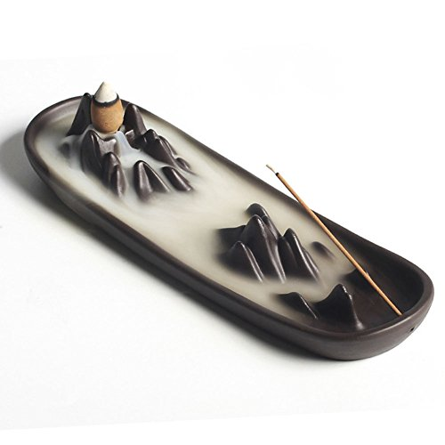 Omonic Multifunction Ceramic mountain peak Boat Style Incense Burner Stick Backflow Incense Holder Clay Incense Ash Catcher Home Decor