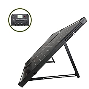 HQST 100 Watt 12Volt Off Grid Polycrystalline Portable Foldable Solar Panel Suitcase with Charge Controller