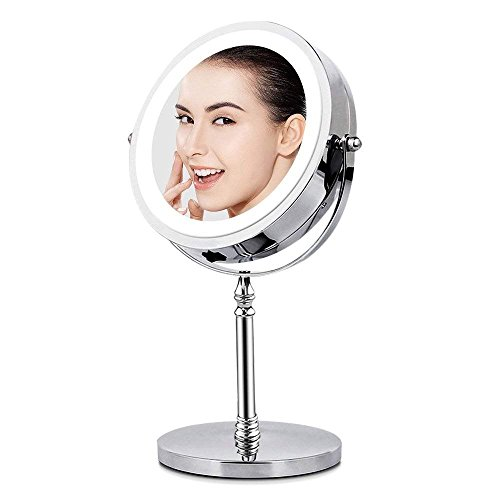 (BRIGHTINWD Magnifying Mirror with Lights, Lighted Makeup Mirror 10X Magnification, Vanity Mirror with Lights, Double Sided 360 Rotation Polished Chrome)