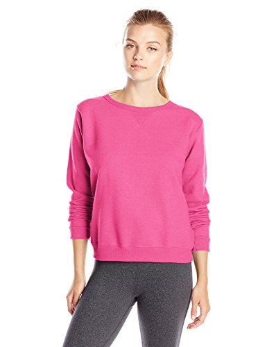 Hanes Womens V-Notch Pullover Fleece Sweatshirt Sizzling Pink Small