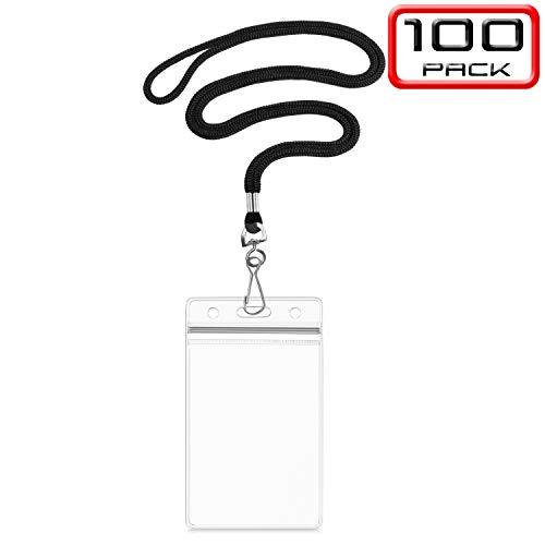 - Summerhouse 100 Pack Transparent Plastic ID Name Tags Badge Holder and Woven 36'' Lanyard - Vertical Fit 2.4x3.6'' Card - for Conference Workshop Meeting Exhibition School