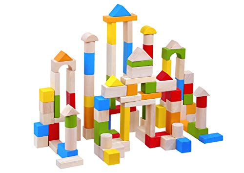 TOYSTER'S 100-Piece Wooden Colorful Classic Building Blocks   BPA-Free Wood Block Set Game for Toddlers   Interactive STEM Educational Toy Great for Fine Motor Skills, Shape Sorting & Recognition