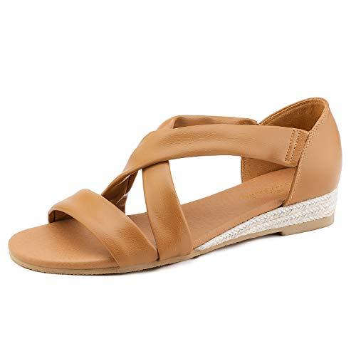 DREAM PAIRS Women's Camel Low Wedge Sandals Dress Sandals Size 6 M US Formosa_8 ()
