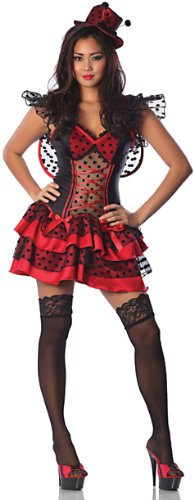 Delicious Li'L Red Bug Sexy Costume, Red/Black, Large -