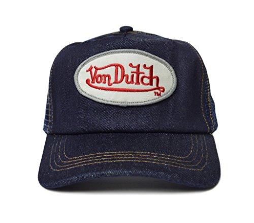 Von Dutch Women's Cap Small Size Fitted Logo Trucker Hat, Blue Denim / Red-White Logo, Adjustable Snapback