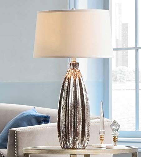 Stella Modern Table Lamp Silver Fluted Mercury Glass Creme Drum Shade for Living Room Family Bedroom Bedside Nightstand - 360 Lighting