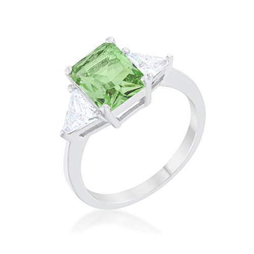 Rhodium Plated Classic Engagement Ring With 4.5ct Peridot Radiant Cut And Trillion Cut CZ Size 5