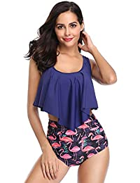 Switmsuit Women Two Pieces Bathing Suits Top Ruffled...