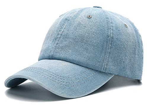 (Edoneery Men Women Plain Cotton Adjustable Washed Twill Low Profile Baseball Cap Hat(White) )