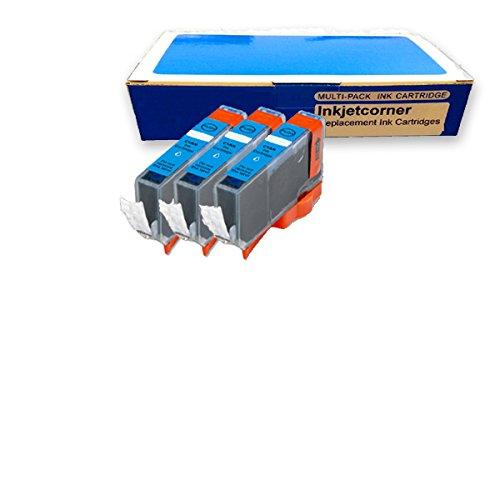 Inkjetcorner 3 Pack Cyan Compatible Ink Cartridge for Canon CLI-8C Canon Pixma iP3300 iP3500 iP4200 iP4300 iP4500 iP5200 iP5200R iP6600D iP6700D MP500 MP530 MP600 MP610 MP800 MP800R MP810 MP830 MX850 MP950 MP510 MX700 MP950 MP960 MP970 Pro9000 Mark II