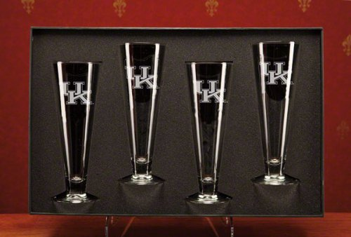 NCAA - Kentucky Wildcats 16 oz Deep Etched Classic Pilsners Gift Set of 4 by CC Glass