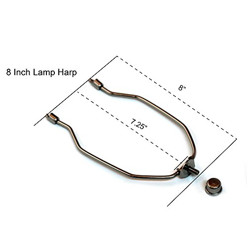 Lamp Harp - 8 Inch Long Nickel Silver Harp For Lamps - Complete Lamp Harp Set Includes Harp, Saddle Base and Finial - Lamp Shade Holder Attachments for Table and Floor Lamps - 2 Pack by I like that lamp (Image #2)