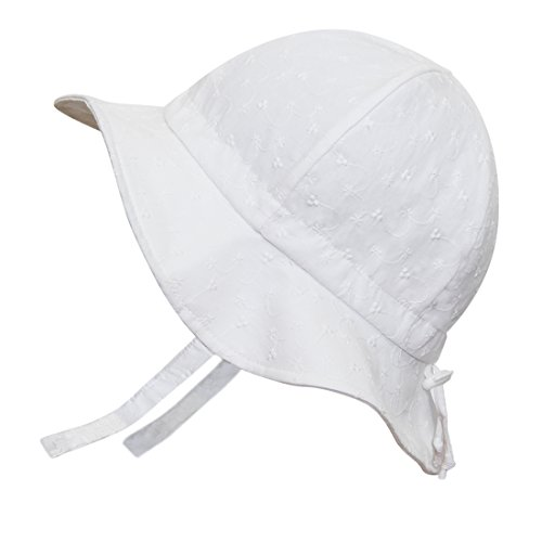 Twinklebelle Eyelet Kids Sun Hat 50+ UPF Cotton Size Adjustable +  Chinstrap(L  3Y - 12Y 00d05a8534f8