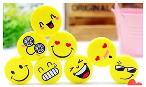 Danyoun Cute Smile Erasers Set, Stationery Erasers Gift Laughing Emoticon Eraser for Kids, Yellow Super Wacky Smiling Face Pencil Eraser Colorful Funny Rubbers Eraser, Set of 12, Randomly