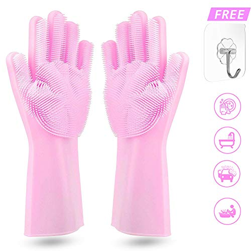 Hinion Magic Silicone Dishwashing Gloves,Magic Saksak Upgrade Silicone Gloves With Wash Scrubber Heat Resistant Cleaning Gloves for Kitchen,Bathroom,Household,Pet Hair Care,Car Washing (Pink)