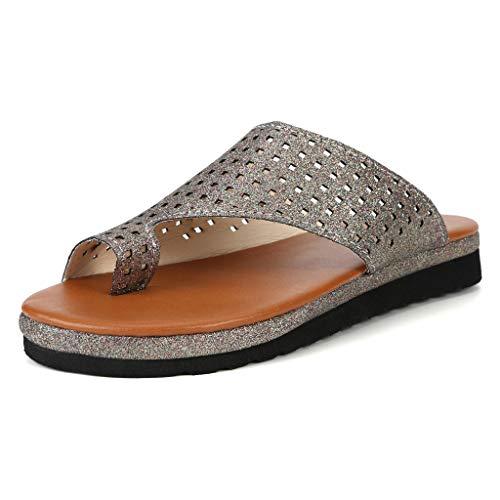 Haalife◕‿Women's Flip Flop Wedge Sandal Comfort Open Toe Thong Slid Slippers Summer Beach Travel Sandal Shoes Gold