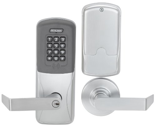 Schlage CO Series Class 200 Offline Electronic Lock, Cylindrical Chassis, Classroom/Storeroom Function, Proximity and Keypad, Rhodes Lever, Satin Chrome Finish