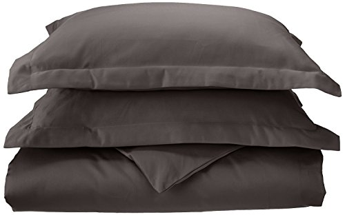 (Superior 1000 Thread Count 100% Cotton, Single Ply, 3-Piece King/California King Duvet Cover Set, Solid, Charcoal)
