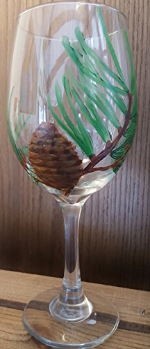 Painted Wine Glass - Northwoods Collection/Pine Cone