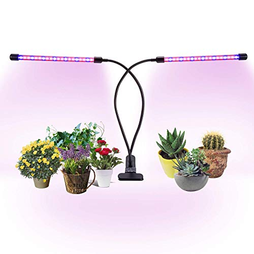 AmaGo Dual Head Timing Growing Light, 20W Lamp, 40 LEDs, 10 Dimmable Levels Grow Lights for Indoor Plants with Red/Blue Spectrum Combination, 3 Switch Modes, 3/6 / 12H Timer, Adjustable Gooseneck