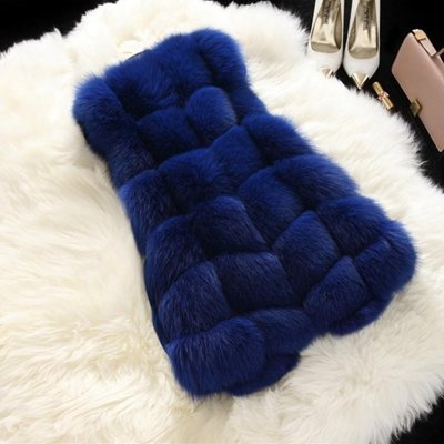 ホイットニー届けるアレイフェイクファーベスト_blue_4XL(着丈76cm、胸108cm、肩幅42cm)