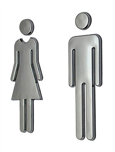 Z-Color Modern Acrylic Bathroom Sign Decor Adhesive Foil Backed Mens and Womens Unisex (Silver)