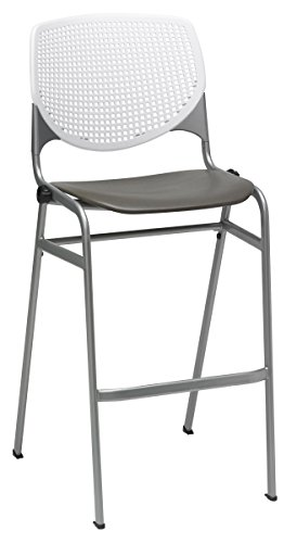 KFI Seating Poly Stack Bar Stool with Perforated Brownstone Seat and White Back