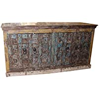 Huge Antique Wooden Sideboard Console Rustic Buffet Solid Wood Original Finish Cabinet Storage Interior Design