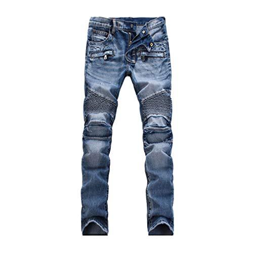 En Casual Homme Coupe Denim Slim Vintage Skinny Pour Jean Noir Hommes Pantalon bleu Plier Trousers Bleu Travail Pants De Droit Jeans Poche n8x8YzZqwr