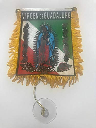 Virgen De Guadalupe flag Mini banner rearview mirror window Car or Home