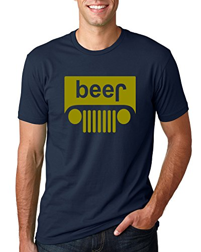 Beer Logo |Gold Design | Jeep Parody Humor Alcohol | Mens Drinking Tee Graphic T-Shirt, Navy, 5XL