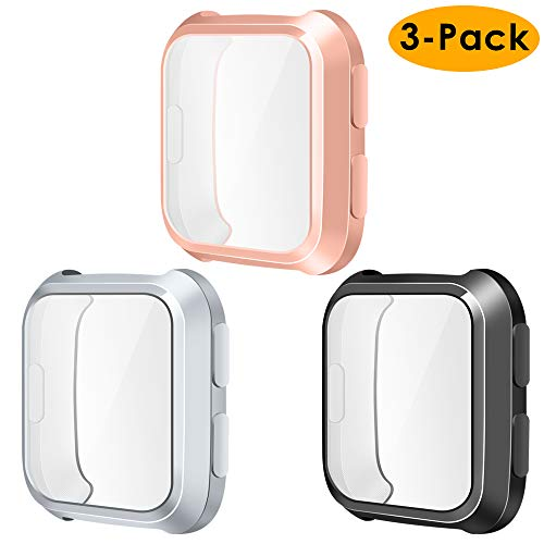 NANW Screen Protector Case Compatible with Fitbit Versa, 3-Pack TPU Rugged Bumper Case Cover All-Around Protective Plated Bumper Shell[Scratch-Proof] Compatible with Versa Smartwatch