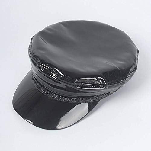 FDBQC Mujeres Sailor Hat Negro Charol Gorras Militares Diseñador ...