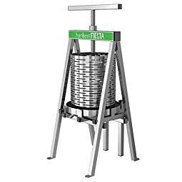 Harvest Fiesta Stainless Steel Fruit and Wine Press, 15 Liter