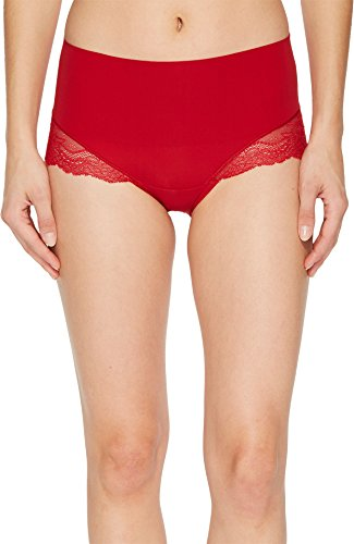 (SPANX Women's Undie-Tectable Lace Hi-Hipster Panty Red Pop X-Large)